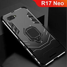 Coque Contour Silicone et Plastique Housse Etui Mat avec Support pour Oppo R17 Neo Noir