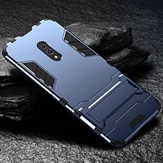 Coque Contour Silicone et Plastique Housse Etui Mat avec Support pour Oppo Realme X Bleu