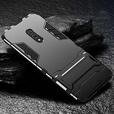 Coque Contour Silicone et Plastique Housse Etui Mat avec Support pour Oppo Realme X Noir
