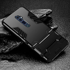 Coque Contour Silicone et Plastique Housse Etui Mat avec Support pour Oppo Reno 10X Zoom Noir