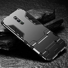 Coque Contour Silicone et Plastique Housse Etui Mat avec Support pour Oppo Reno Noir