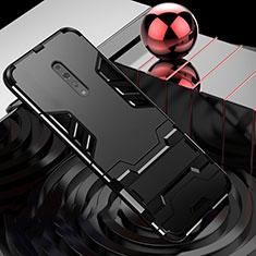 Coque Contour Silicone et Plastique Housse Etui Mat avec Support pour Oppo Reno Z Noir