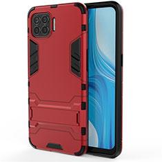 Coque Contour Silicone et Plastique Housse Etui Mat avec Support pour Oppo Reno4 Lite Rouge