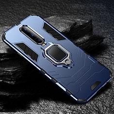 Coque Contour Silicone et Plastique Housse Etui Mat avec Support pour Oppo RX17 Pro Bleu