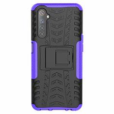 Coque Contour Silicone et Plastique Housse Etui Mat avec Support pour Realme 6s Violet