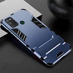 Coque Contour Silicone et Plastique Housse Etui Mat avec Support pour Realme 7i Bleu