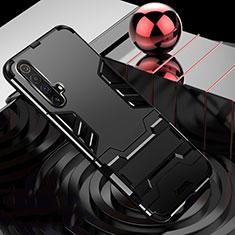 Coque Contour Silicone et Plastique Housse Etui Mat avec Support pour Realme X3 SuperZoom Noir