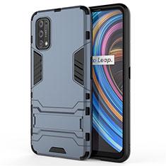 Coque Contour Silicone et Plastique Housse Etui Mat avec Support pour Realme X7 Pro 5G Bleu