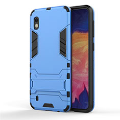 Coque Contour Silicone et Plastique Housse Etui Mat avec Support pour Samsung Galaxy A10 Bleu Ciel