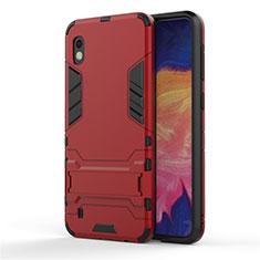 Coque Contour Silicone et Plastique Housse Etui Mat avec Support pour Samsung Galaxy A10 Rouge