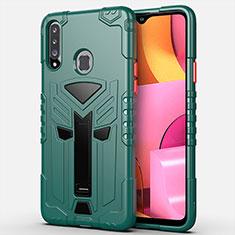 Coque Contour Silicone et Plastique Housse Etui Mat avec Support pour Samsung Galaxy A20s Vert