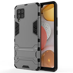 Coque Contour Silicone et Plastique Housse Etui Mat avec Support pour Samsung Galaxy A42 5G Gris