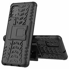 Coque Contour Silicone et Plastique Housse Etui Mat avec Support pour Samsung Galaxy A51 4G Noir