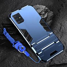 Coque Contour Silicone et Plastique Housse Etui Mat avec Support pour Samsung Galaxy A71 5G Bleu