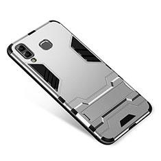 Coque Contour Silicone et Plastique Housse Etui Mat avec Support pour Samsung Galaxy A8 Star Argent