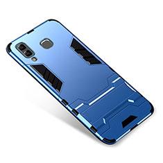 Coque Contour Silicone et Plastique Housse Etui Mat avec Support pour Samsung Galaxy A8 Star Bleu