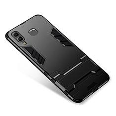 Coque Contour Silicone et Plastique Housse Etui Mat avec Support pour Samsung Galaxy A8 Star Noir