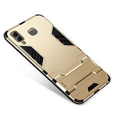 Coque Contour Silicone et Plastique Housse Etui Mat avec Support pour Samsung Galaxy A8 Star Or