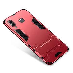 Coque Contour Silicone et Plastique Housse Etui Mat avec Support pour Samsung Galaxy A8 Star Rouge