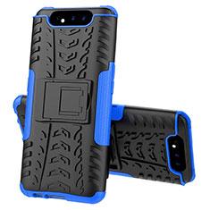 Coque Contour Silicone et Plastique Housse Etui Mat avec Support pour Samsung Galaxy A80 Bleu