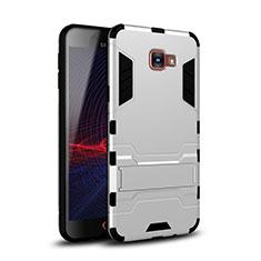 Coque Contour Silicone et Plastique Housse Etui Mat avec Support pour Samsung Galaxy A9 Pro (2016) SM-A9100 Blanc