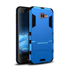 Coque Contour Silicone et Plastique Housse Etui Mat avec Support pour Samsung Galaxy A9 Pro (2016) SM-A9100 Bleu