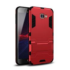 Coque Contour Silicone et Plastique Housse Etui Mat avec Support pour Samsung Galaxy A9 Pro (2016) SM-A9100 Rouge