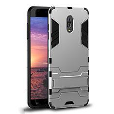 Coque Contour Silicone et Plastique Housse Etui Mat avec Support pour Samsung Galaxy C8 C710F Blanc