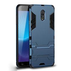 Coque Contour Silicone et Plastique Housse Etui Mat avec Support pour Samsung Galaxy C8 C710F Cyan