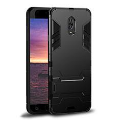 Coque Contour Silicone et Plastique Housse Etui Mat avec Support pour Samsung Galaxy C8 C710F Noir
