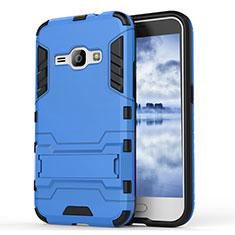 Coque Contour Silicone et Plastique Housse Etui Mat avec Support pour Samsung Galaxy J1 (2016) J120F Bleu