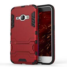 Coque Contour Silicone et Plastique Housse Etui Mat avec Support pour Samsung Galaxy J1 (2016) J120F Rouge