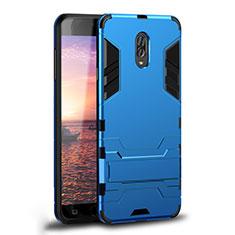 Coque Contour Silicone et Plastique Housse Etui Mat avec Support pour Samsung Galaxy J7 Plus Bleu Ciel