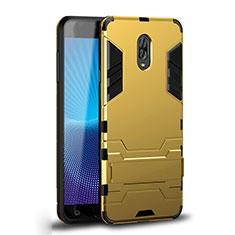 Coque Contour Silicone et Plastique Housse Etui Mat avec Support pour Samsung Galaxy J7 Plus Or