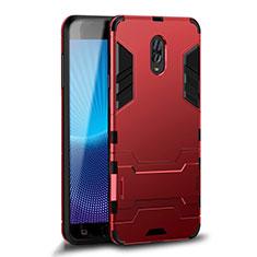 Coque Contour Silicone et Plastique Housse Etui Mat avec Support pour Samsung Galaxy J7 Plus Rouge