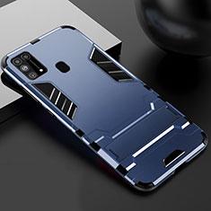 Coque Contour Silicone et Plastique Housse Etui Mat avec Support pour Samsung Galaxy M21s Bleu