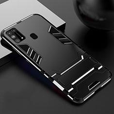 Coque Contour Silicone et Plastique Housse Etui Mat avec Support pour Samsung Galaxy M21s Noir