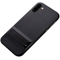Coque Contour Silicone et Plastique Housse Etui Mat avec Support pour Samsung Galaxy Note 10 5G Noir