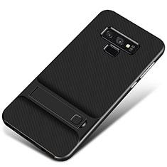 Coque Contour Silicone et Plastique Housse Etui Mat avec Support pour Samsung Galaxy Note 9 Noir