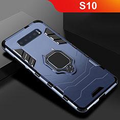 Coque Contour Silicone et Plastique Housse Etui Mat avec Support pour Samsung Galaxy S10 Bleu