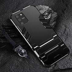 Coque Contour Silicone et Plastique Housse Etui Mat avec Support pour Samsung Galaxy S10 Lite Noir