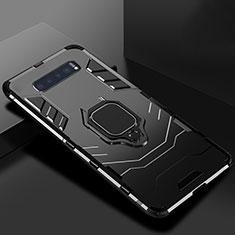 Coque Contour Silicone et Plastique Housse Etui Mat avec Support pour Samsung Galaxy S10 Noir