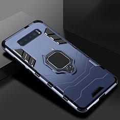 Coque Contour Silicone et Plastique Housse Etui Mat avec Support pour Samsung Galaxy S10 Plus Bleu