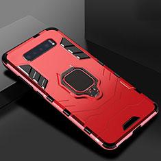 Coque Contour Silicone et Plastique Housse Etui Mat avec Support pour Samsung Galaxy S10 Rouge
