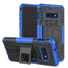 Coque Contour Silicone et Plastique Housse Etui Mat avec Support pour Samsung Galaxy S10e Bleu