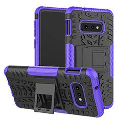 Coque Contour Silicone et Plastique Housse Etui Mat avec Support pour Samsung Galaxy S10e Violet