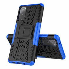 Coque Contour Silicone et Plastique Housse Etui Mat avec Support pour Samsung Galaxy S20 FE 5G Bleu