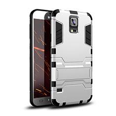 Coque Contour Silicone et Plastique Housse Etui Mat avec Support pour Samsung Galaxy S5 Duos Plus Blanc