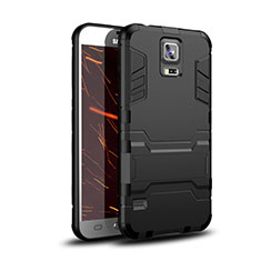 Coque Contour Silicone et Plastique Housse Etui Mat avec Support pour Samsung Galaxy S5 Duos Plus Noir