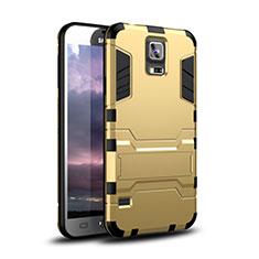 Coque Contour Silicone et Plastique Housse Etui Mat avec Support pour Samsung Galaxy S5 Duos Plus Or